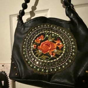Mary Frances leather embroidered purse